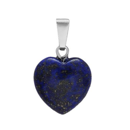 Natural Quartz Healing Stone Pendant Hear Shape Chakra Charm Jewelry Supply