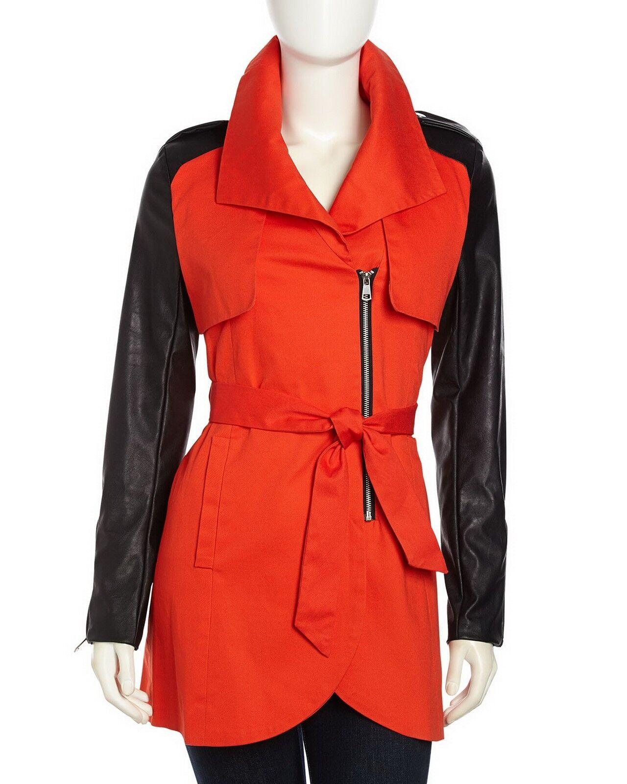 Nuevo sin etiquetas French Connection Gabardina Abrigo Chaqueta, Color   Negro Rojo, Pequeña  250  marca en liquidación de venta