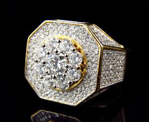 Da-Uomo-Oro-Giallo-Argento-Sterling-Diamante-Sintetico-Moda-Reale-Anello-21mm