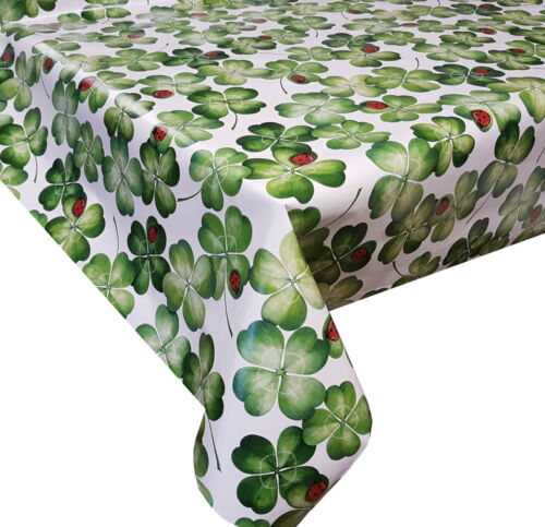 PVC Table Nappe Trèfle Irlandais Chance Coccinelle Vert Blanc Rouge Essuyer Capable Protecteur