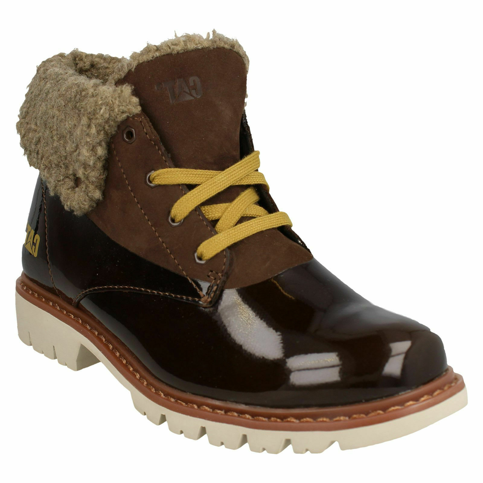 LADIES CATERPILLAR LEATHER PATENT LACE UP WINTER ANKLE BOOTS HUB FUR P308171