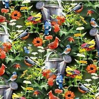 Wild Wings Fine Feathered Friends Song Birds In Garden Cotton Fabric By The Yard