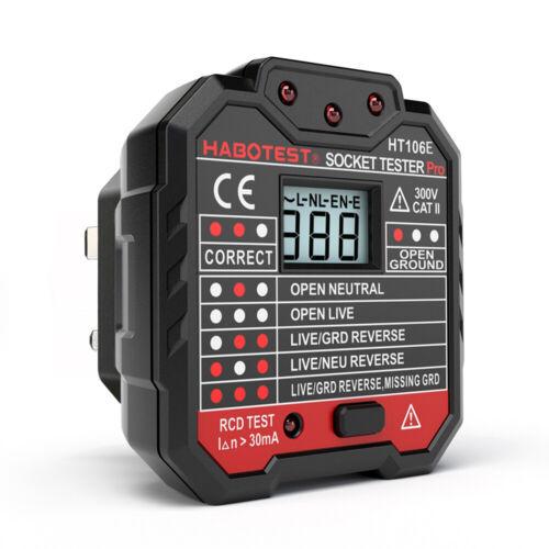 Malfunction Detector Digital Display Plug Socket Tester Mains Fault Checker UK