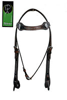 Western Dark Oil Shaped Headstall With Silver Spot Studded And Heart Conchos
