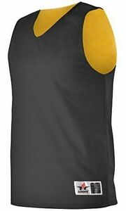 NEW-MEN-039-S-Alleson-Reversible-Black-Gold-MESH-Sleeveless-Athletic-Shirt-3XLarge