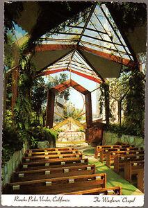 Vintage-Postcard-USA-Wayfarers-Chapel-Rancho-Palos-Verdes-California-Stamped