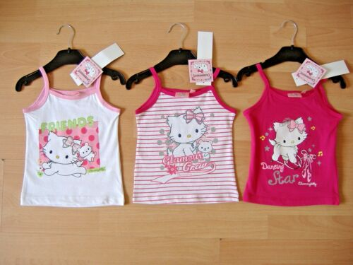 NEW GIRLS CHARMMY KITTY STRAP TOP T SHIRT PINK WHITE AGES 2 3 4 5 6 7 8