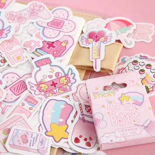 46Pcs Cute Stickers Kawaii Stationery DIY Scrapbooking Diary Label Sticker New