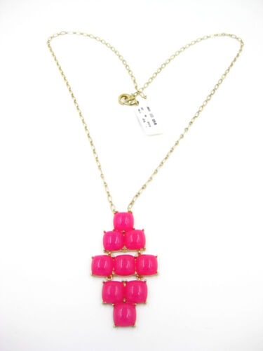 Vibrant New Gold Tone Pink Stone Necklace by Cache NWT #CE31