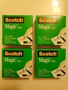 4-NEW-Scotch-Magic-Tape-Refill-3-4-034-x-1000-034-1-034-Core-Clear-8101K-FREE-SHIPPING