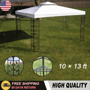 10-13-ft-White-Garden-Outdoor-Steel-Frame-Gazebo-BBQ-Picnic-Canopy-Party-Tent
