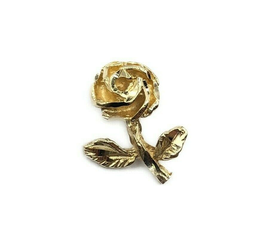 The Most Beautiful Tiny 14k Yellow gold  pink Flower Pendant Charm
