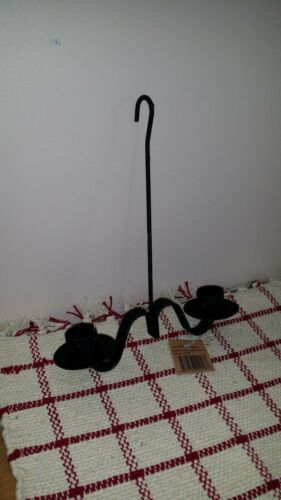 Black Wrought Iron Hanging Double Taper Candleholder, Colonial Style, New