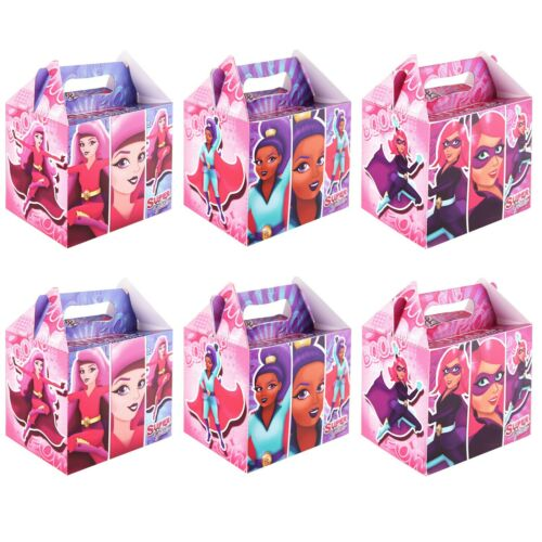 12 Supergirls Card Party Favour Treat Carry Handle Boxes Birthday Sweets Food