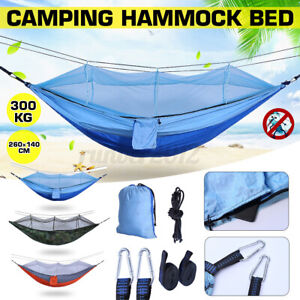 300KG Portable Camping Hammock Travel Outdoor Sport Swinging Bed W/ Mosquito Net