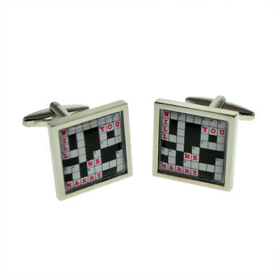 Crossword Puzzle Gold-tone Square Cufflinks with Select Gifts Pouch