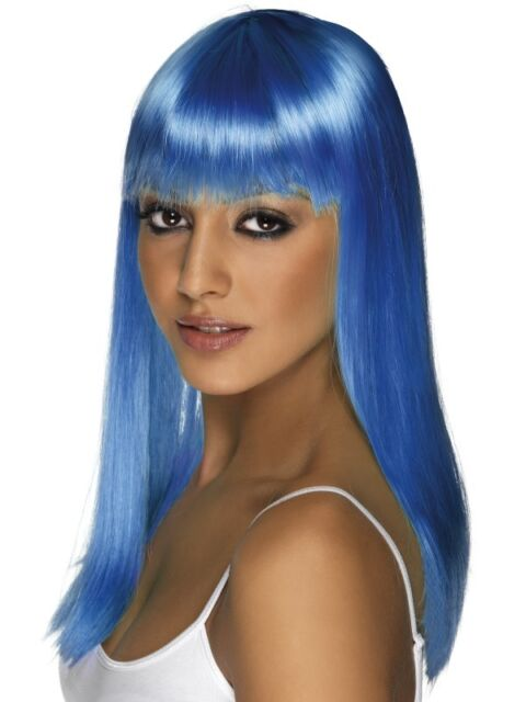 Ladies 80s Glamourama Fancy Dress Wig with Fringe Neon Blue New by Smiffys