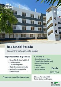 Departamento en venta en Residencial Posada en Tuxtla Gutiérrez, Chiapas con 3 recamaras.