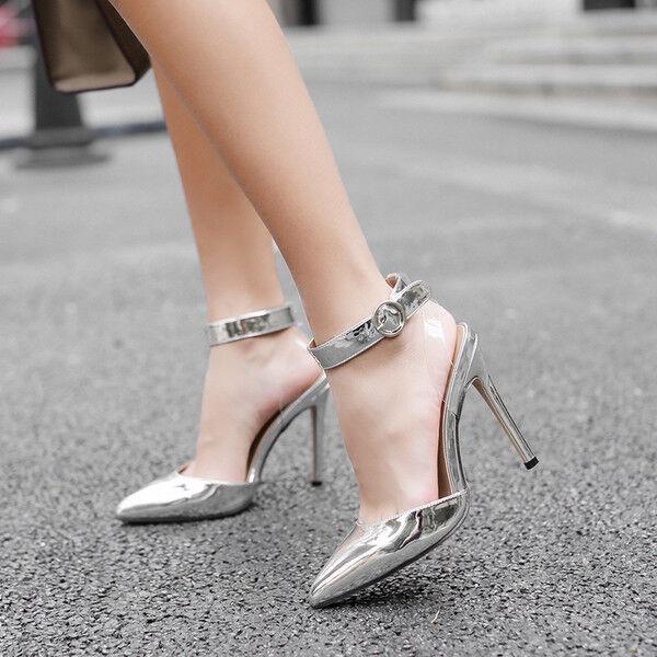 Sandali eleganti tacco stiletto 11 cm silver comodi simil pelle eleganti 9777