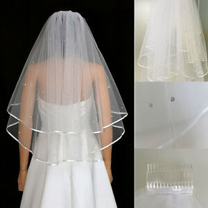 Image Is Loading Ivory 2T Bridal Crystal Wedding Veil Short Elbow