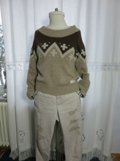 ODD MOLLY 226 warmer Damen Strick Pullover Gr. 2  38 40 Wolle Naturtöne wneu