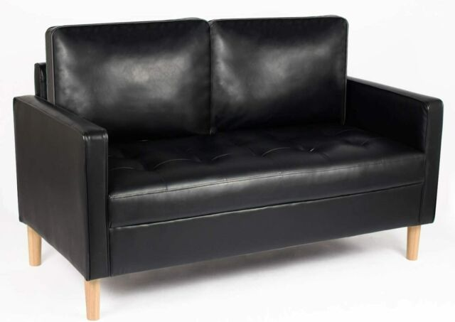 Modern Living Room Black Faux Leather Reclining Sofa Couch Loveseat Set If25 For Sale Online Ebay