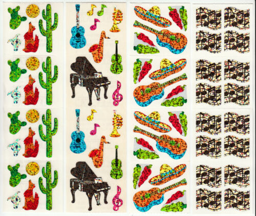 You Choose Vintage Hambly Glitter Sticker Strip Wolf Cactus Music Note Siesta