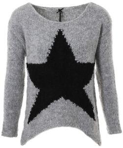 Details zu KEY LARGO Damen Strickpullover Dance grau melange Stern Star Motiv WKN00016