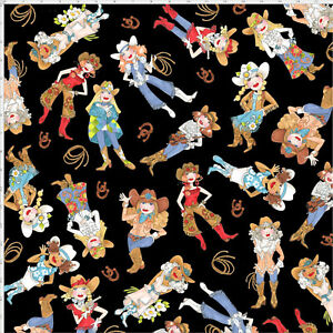 Loralie-Whoa-Girl-Cowgirl-Western-Lady-Toss-on-Black-Cotton-Fabric-By-The-Yard