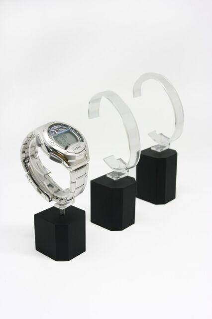 12 Black acrylic watch bracelet holders rack display stand detachable 3 sizes