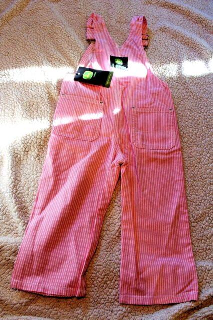Key Baby Girls Pink Hickory Striped Bib Overalls