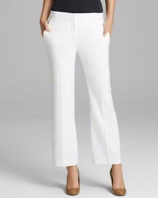 $285 Theory Benetta Off White Relaxed Leg Cropped Slacks Pants 12 NWT T305