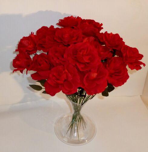 10 x offene Rosen rot  Velour Seidenblumen Kunstblumen