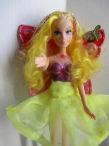 Barbie-fairy-doll-golden-blonde-hair-with-pink-hair-ladies-skirt-amp-yellow-shoes