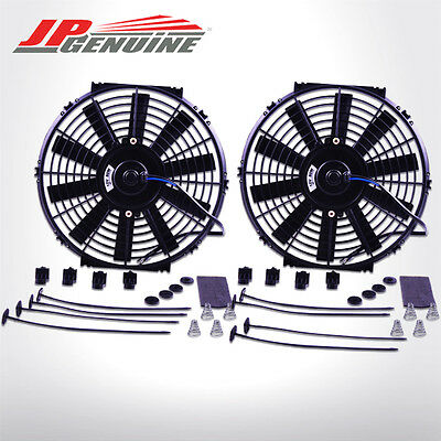 "12"" SILM PULL/PUSH RADIATOR COOLING FAN w/ MOUNTING KIT BLACK 2PC - UNIVERSAL 3"