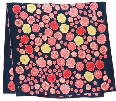 Luxury FABRIC FRONTLINE Floral CARNATION Blue Yellow Red PINK Silk 52 Scarf Wrap