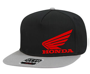 Honda-Motors-Trucker-Hat-Red-Wing-Logo-Flat-Bill-Snapback-Black-amp-Gray-Cap-NEW
