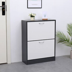AVC-Designs-2-Draw-Shoe-Storage-Cupboard-Cabinet-Rack-Grey-amp-White-inc-Warranty
