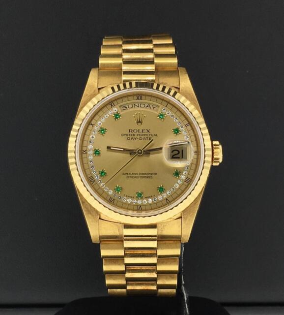 3a38b0245872f Rolex Président Date Du Jour 36mm 18k or Jaune Corde Diamant & Émeraude  Cadran