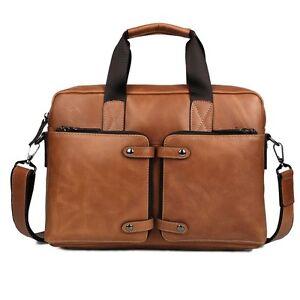Men-039-s-Genuine-Leather-Messenger-Shoulder-Bag-Briefcase-Business-Cross-Body-Sling