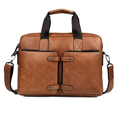 "Men Genuine Leather Briefcase Messenger Shoulder Bag Business 14"" Laptop Handbag"