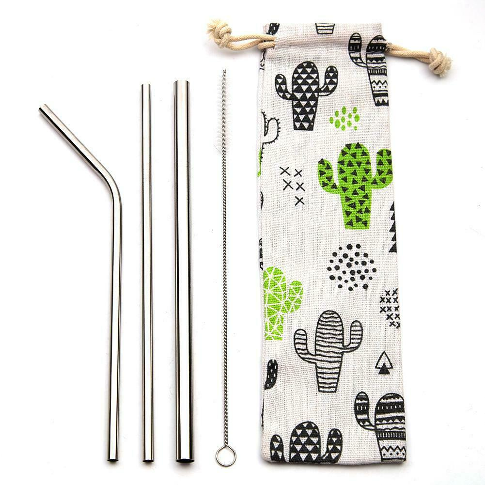 3pcs Straw BrushCactus Bag