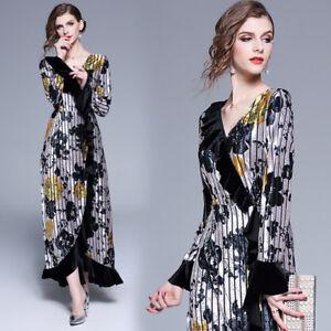 2019-Spring-Womens-Fashion-V-Neck-Printing-A-line-Dress-Maxi-Long-Ball-Gown-A22