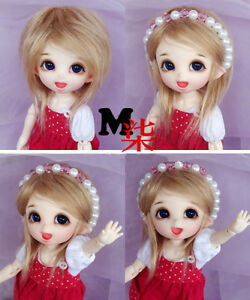 "5/""-6/"" 14cm BJD fabric fur wig Milk Coffee for AE PukiFee lati 1//8 Doll Antiskid"