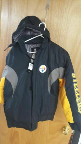 another chance 61bcd 94d04 ☆new☆pittsburgh Steelers Youth XL Reebok Midweight Hooded Winter Jacket NFL