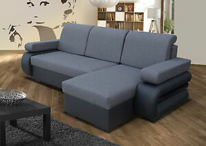 Corner Sofa Bed With Two Storage Compartments Grey Black