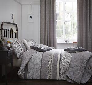 Image Is Loading Hanworth Grey Quilt Duvet Cover Sets Bedding