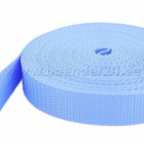 uv 1,4mm forte-bleu clair//lilas 25mm de large 10m pp sangle