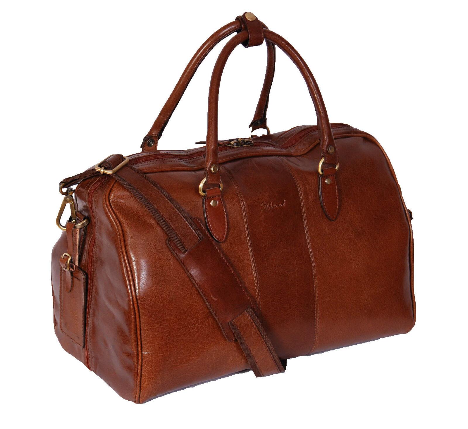 Genuine cuir Holdall Weekend Cabin voyage Gym Sports Duffle sac Chestnut nouveau