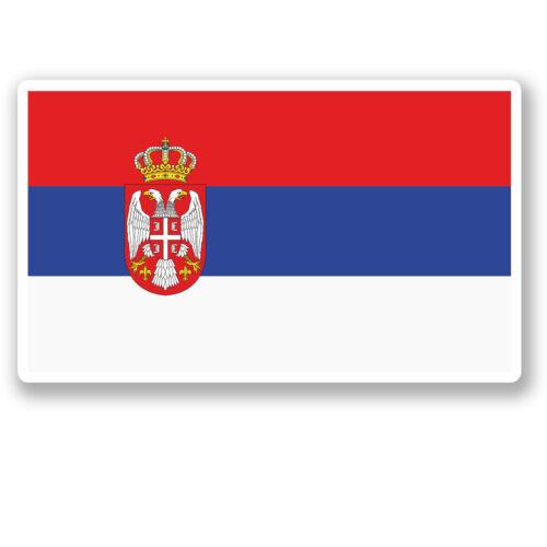 2 x 10cm Serbia Flag Vinyl Sticker iPad Laptop Car Travel Luggage Serbian #5294